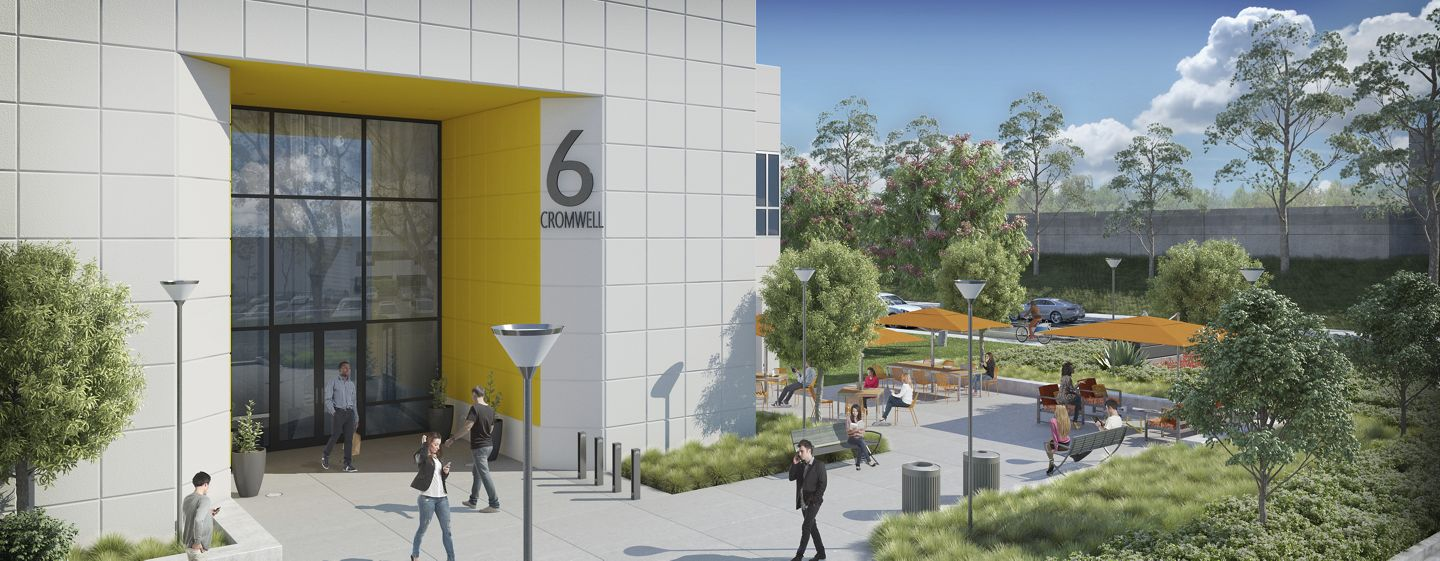Rendering of the building entrance with outdoor workspace at Bake Technology Park - 6 Cromwell, in Irvine, CA