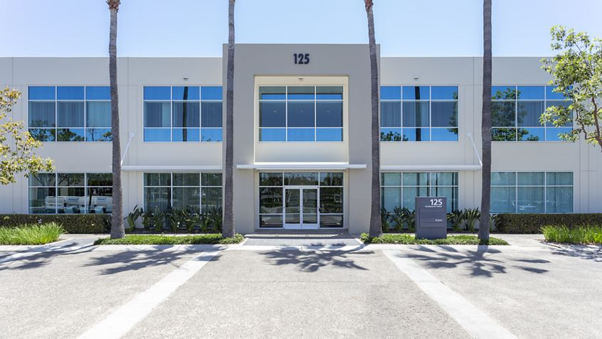 Exterior building photography of 125 Technology entry at Corporate Business Center, Irvine, CA