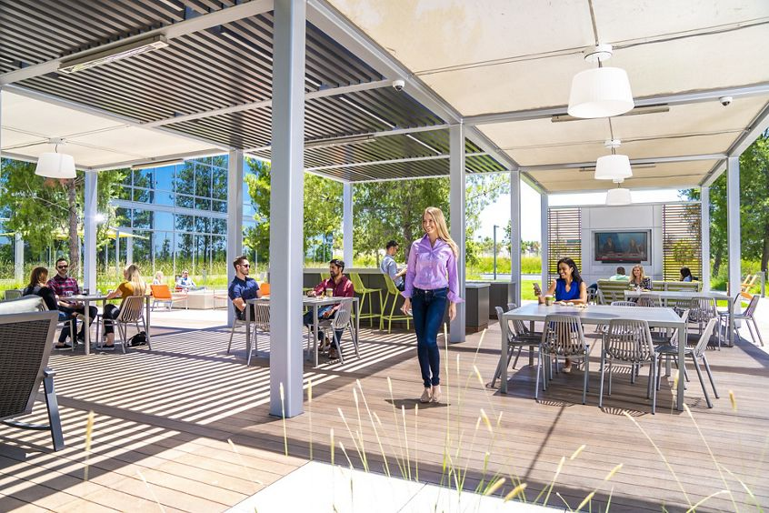 Lifestyle photography of The Commons at Discovery Park between 505 and 525 Technology in Irvine, CA