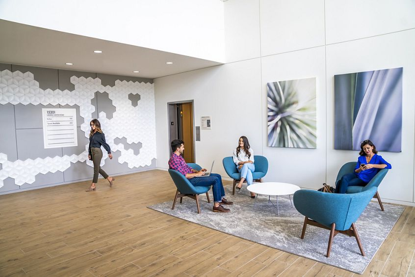 Lifestyle photography of the building lobby at Discovery Park - 15201 Laguna Canyon Road in Irvine, CA