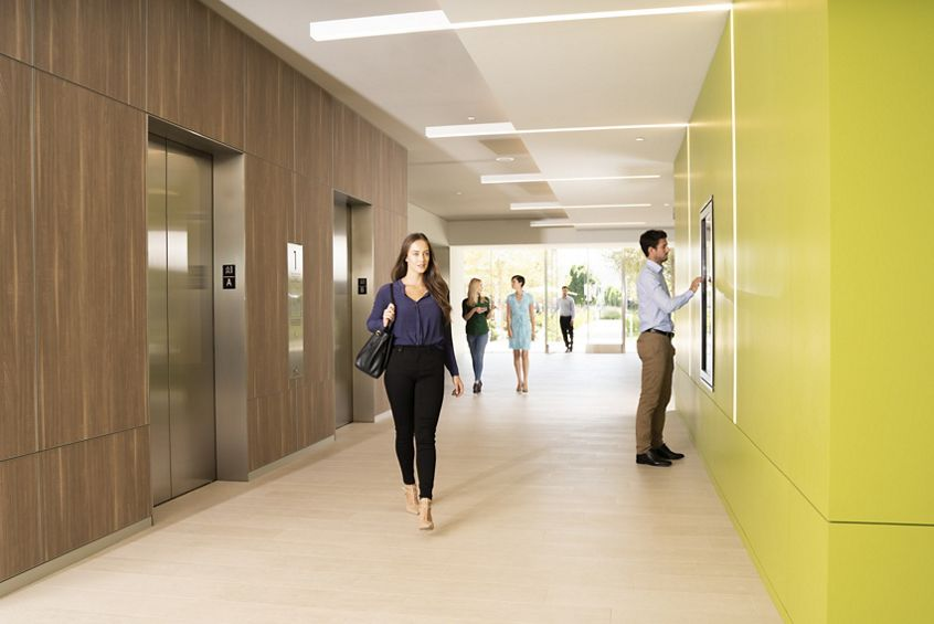 Lifestyle photography of elevator area and lobby at 530 Technology Drive - Discovery Park in Irvine, CA