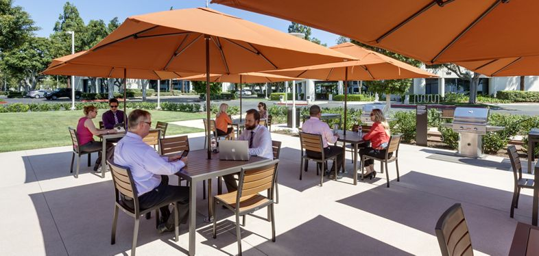 Views of outdoor workspace at Freeway Technology Park in Irvine Spectrum 3. RMA Photography 2015.