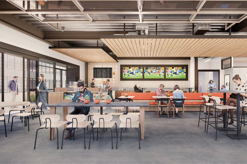 Rendering of the cafe at Innovation Office Park in Irvine, CA