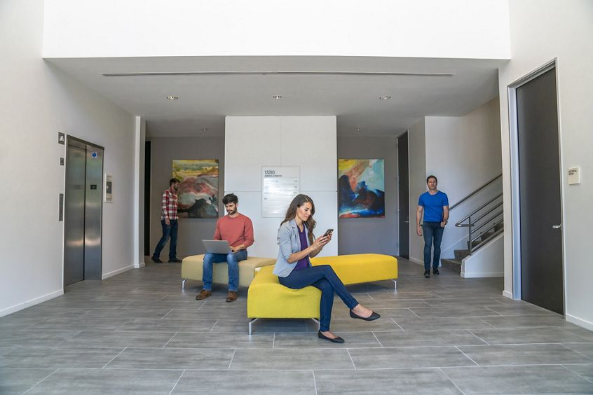 Lifestyle photography of the building lobby at Lakeview Business Center - 15310 Barranca Parkway in Irvine, CA