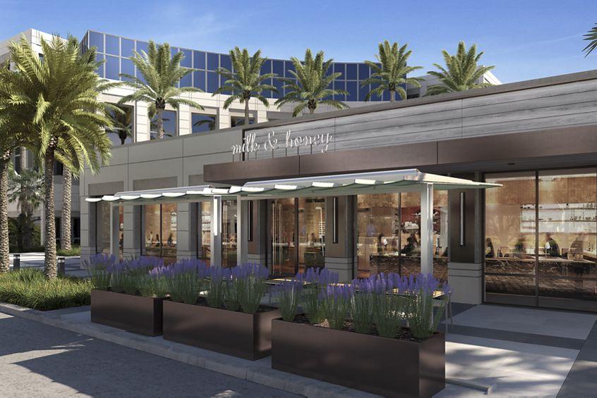 Rendering of Spectrum Court outdoor amenity, Irvine CA
