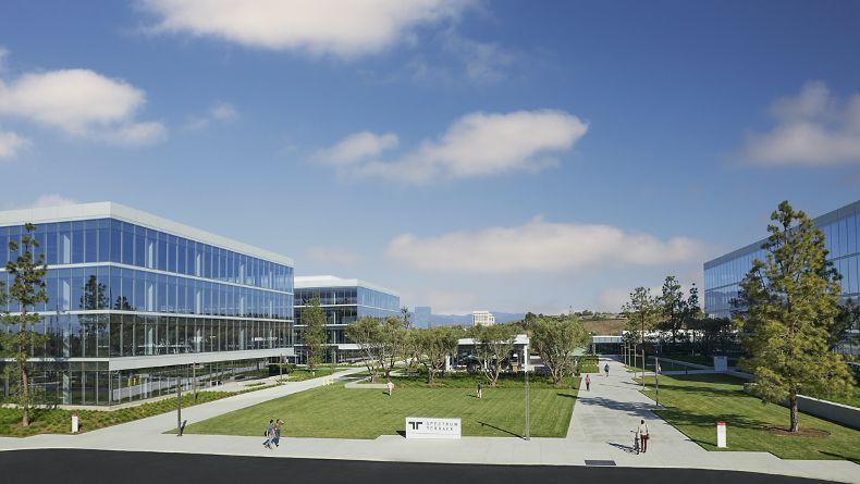 Lifestyle photography of exterior of Spectrum Terrace campus in Irvine, Ca