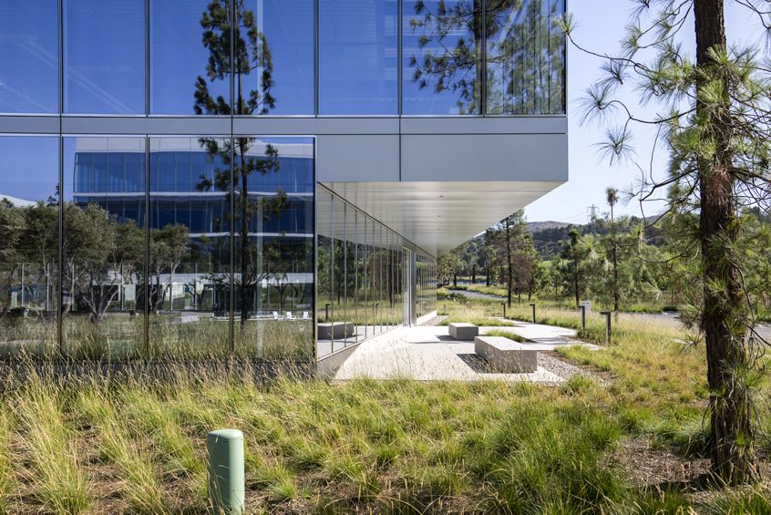 Exterior details of Spectrum Terrace office building in Irvine, CA.