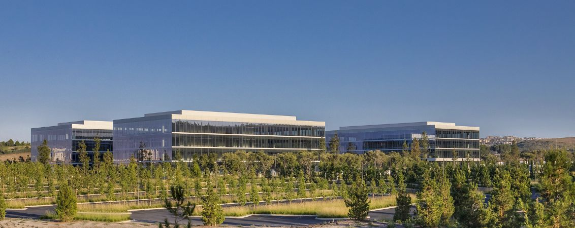 Exterior key shots of Spectrum Terrace office building in Irvine, CA.