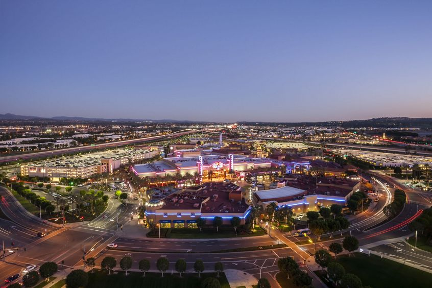 Aerial of Irvine Spectrum Center towards Edwards Cinemas, Irvine, Ca