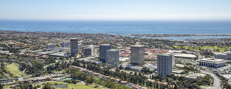 Aerial photography of Newport Center in Newport Beach, CA