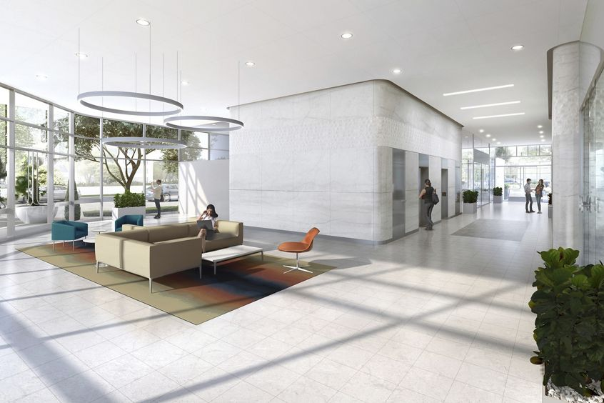 Rendering of the lobby reinvestment at 450 Newport Center in Newport Beach, CA