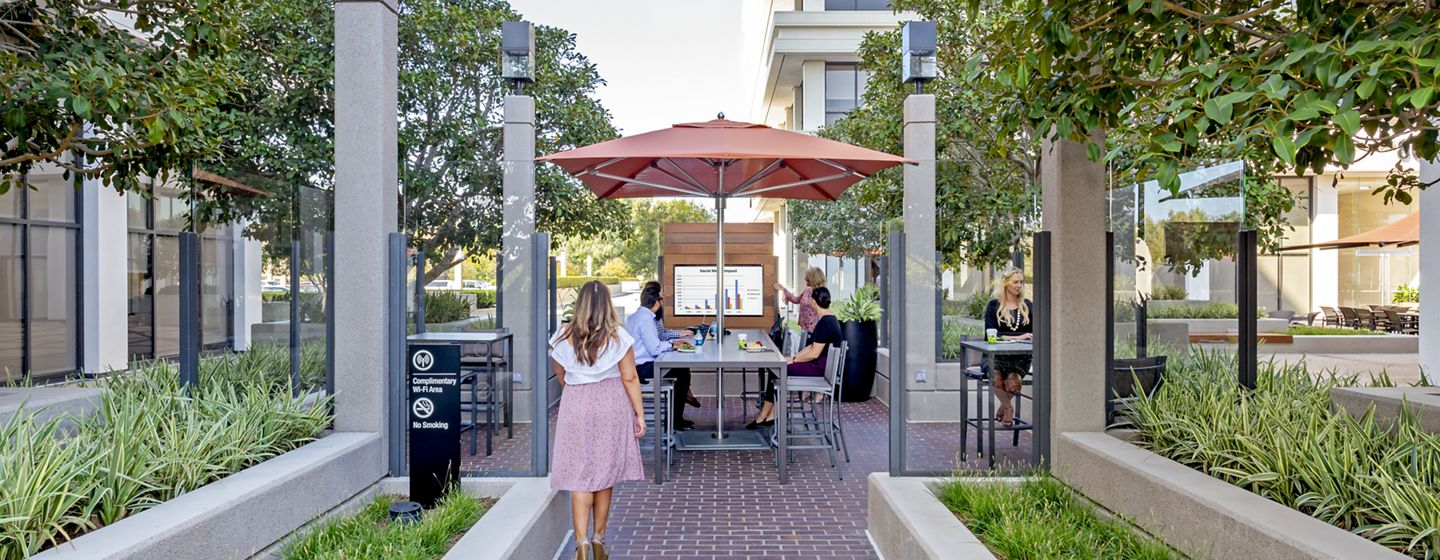 Lifestyle photography of The Commons at 800 Newport Center Drive - Pacific Financial Plaza in Newport Beach, CA