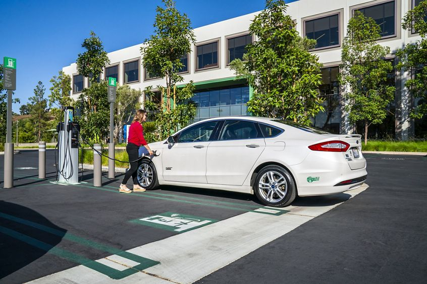 Lifestyle photography of the EV charging stations at UCI Research Park in Irvine, CA