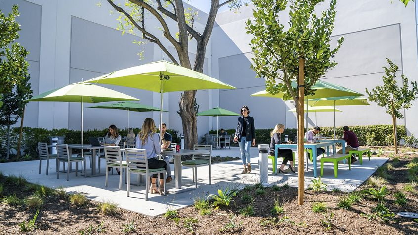 Lifestyle photography of the outdoor reinvestment at Jamboree Business Park - 14350 Myford Road in Irvine, CA