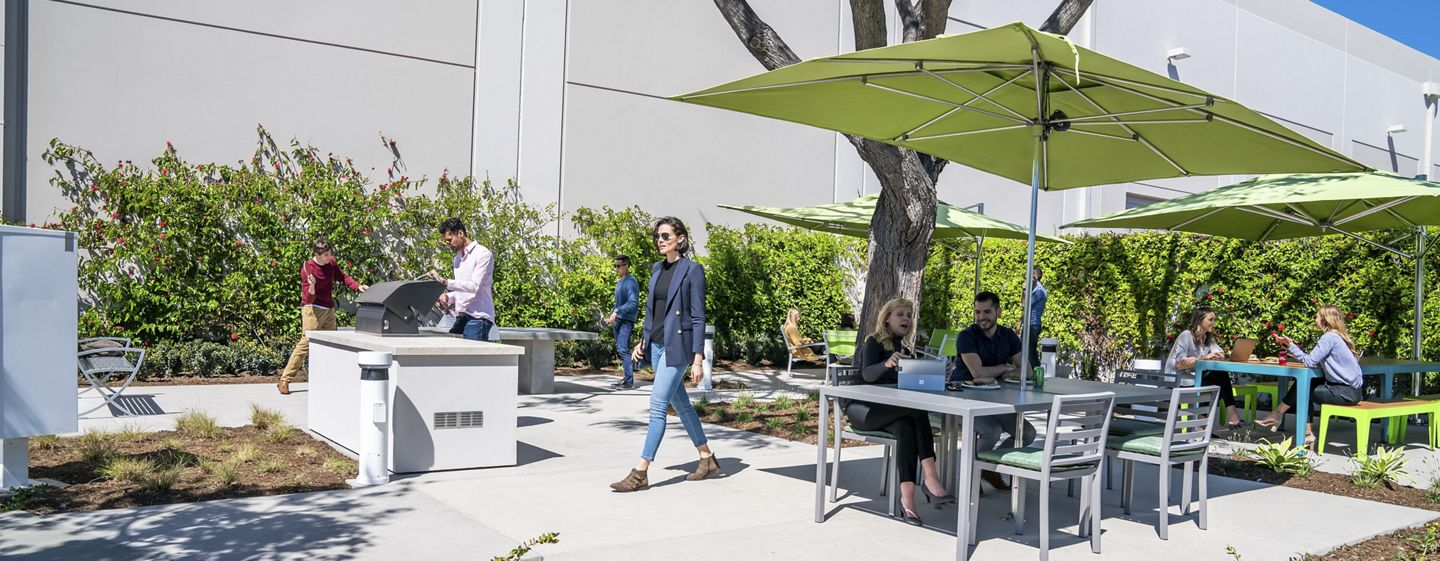 Lifestyle photography of the outdoor reinvestment at Jamboree Business Park - 14410 Myford Road in Irvine, CA