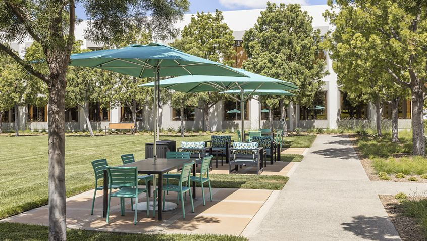 Exterior view of seating area at The Commons at 320 Commerce at Market Place Center in Irvine, CA.