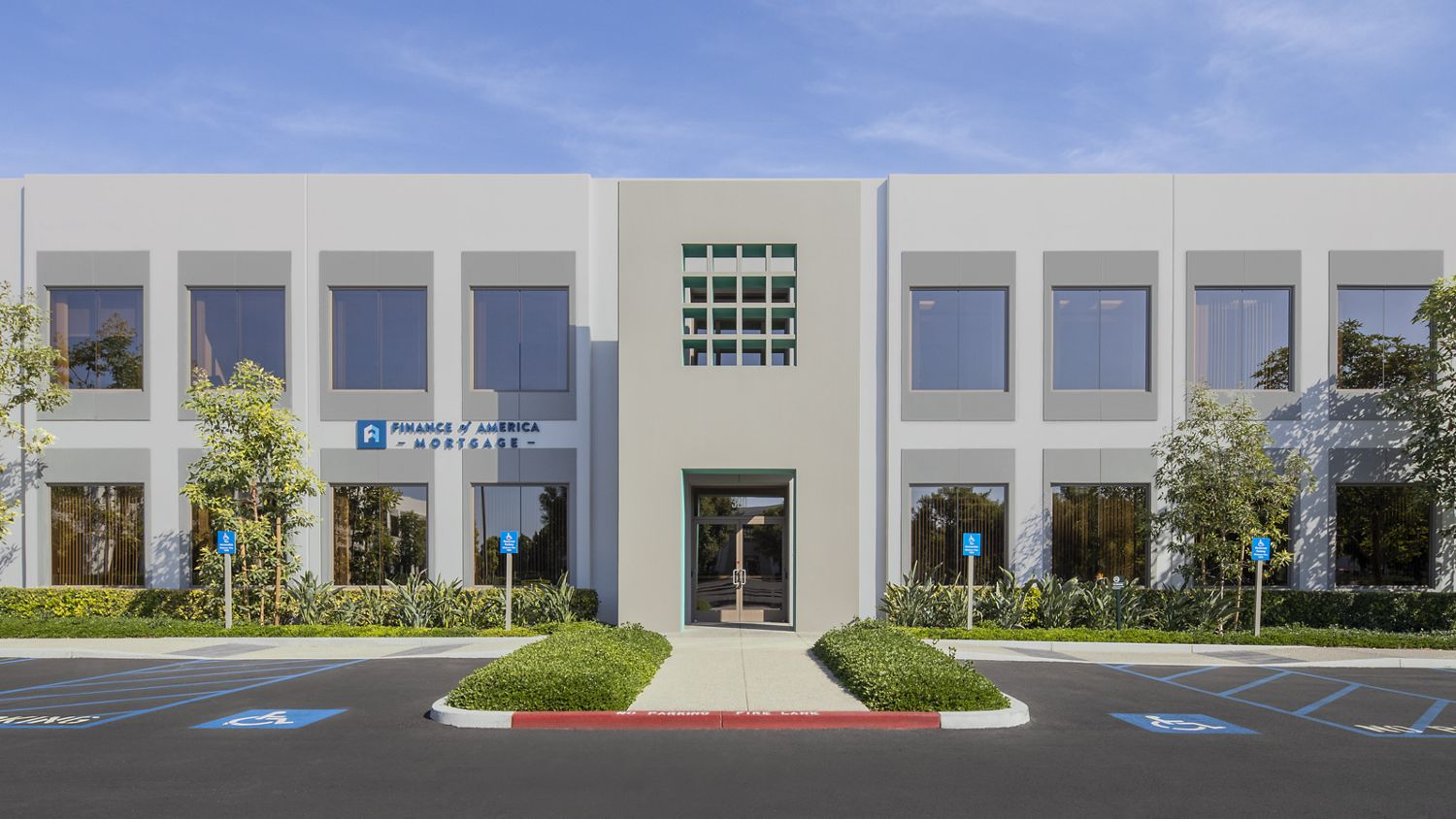 After reinvestment photography of the building exterior at Market Place Center - 320 Commerce in Irvine, CA