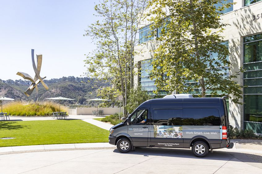 Photography of the shuttle service at Gateway at Torrey Hills in San Diego, CA