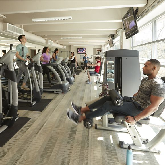 Lifestyle photography of the fitness center at Gateway at Torrey Hills, San Diego, Ca
