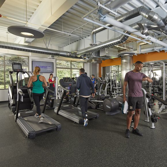 Interior view of fitness center at Paseo Del Mar in San Diego, CA.