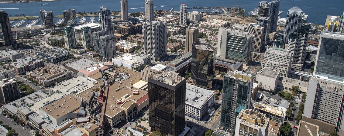 Aerial photography of downtown San Diego featuring 225 Broadway, 101 West Broadway, 501 West Broadway and One America Plaza in San Diego, CA