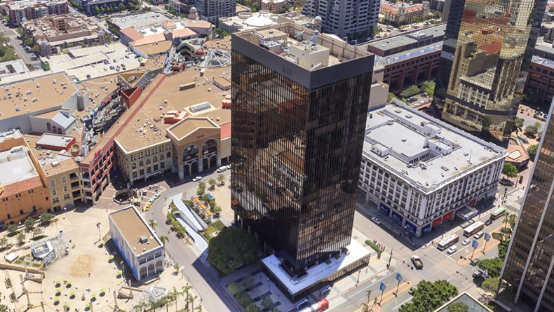 Aerial view of 225 Broadway office building.