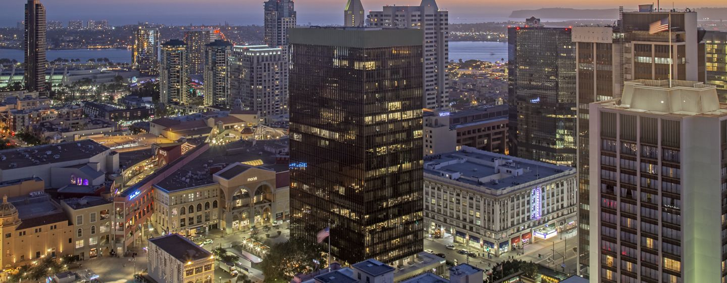 Exterior building photography of 225 Broadway in San Diego, CA