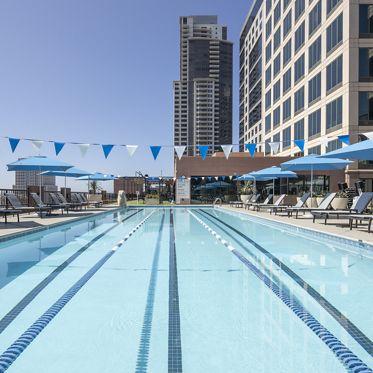 Exterior view of  501 W Broadway Athletic Swim Club in San Diego, CA.