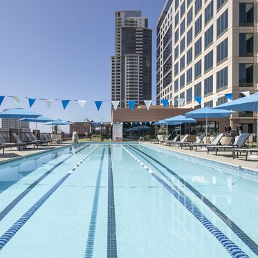 Exterior view of  501 W Broadway Athletic Swim Club in San Diego, CA.