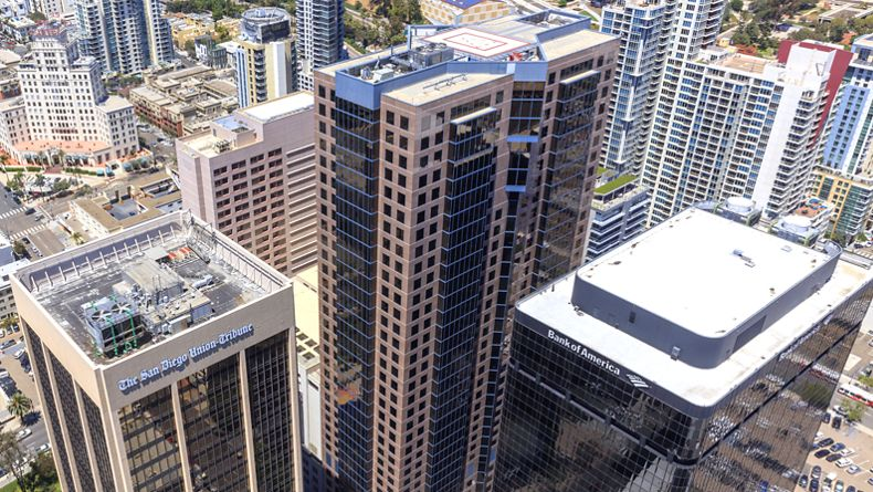 Aerial view of Symphony Towers in San Diego.
