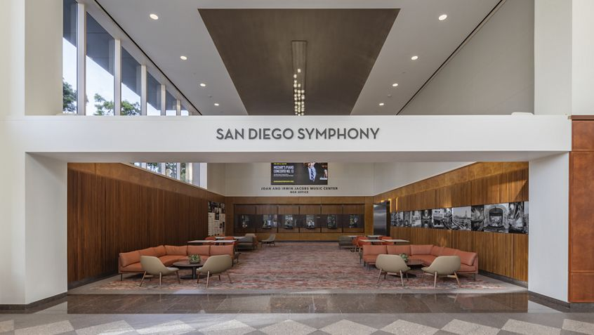 Interior view of lobby of Symphony Towers in San Diego, CA.