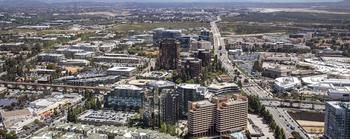 Aerial photography of La Jolla UTC featuring La Jolla Center, La Jolla Gateway, Eastgate, One La Jolla Center, La Jolla Square and The Plaza in San Diego, CA