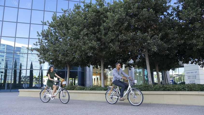 Lifestyle photography of Zagster bike share program at La Jolla Center