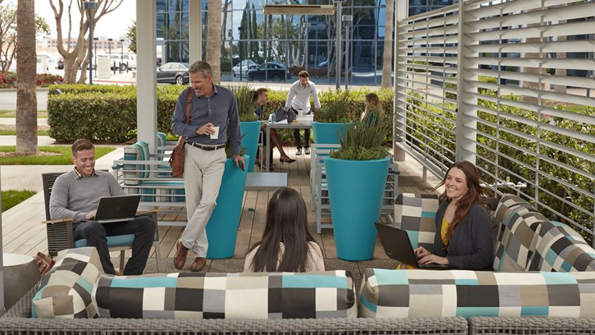 Lifestyle photography of the outdoor reinvestment at The Commons at La Jolla Center in San Diego, CA