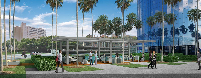 Outdoor area renderings at La Jolla Center in San Diego, CA