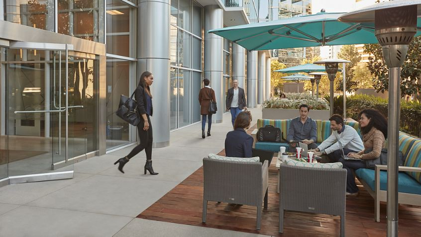 Lifestyle photography of the outdoor workspace at La Jolla Square in San Diego, CA