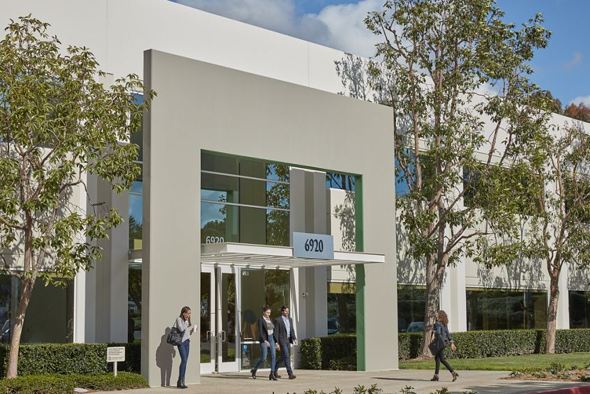 Lifestyle photography of the building entry at Canyon Ridge Technology Park - 6920 Carroll Road in San Diego, CA