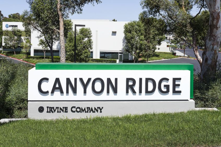 Monument signage at Canyon Ridge Technology Park in San Diego, CA