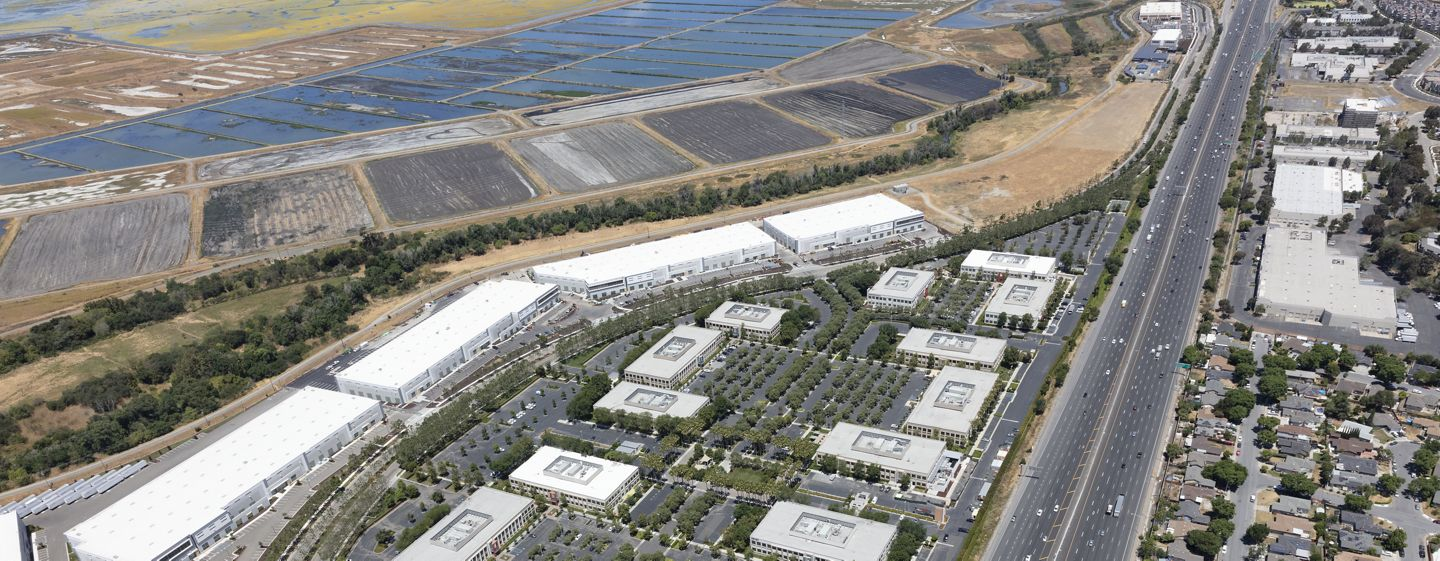 Aerial photography of McCarthy Center in Milpitas in Silicon Valley, Ca