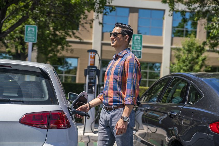 Lifestyle photography of the EV charging stations at McCarthy Center in Milpitas, CA
