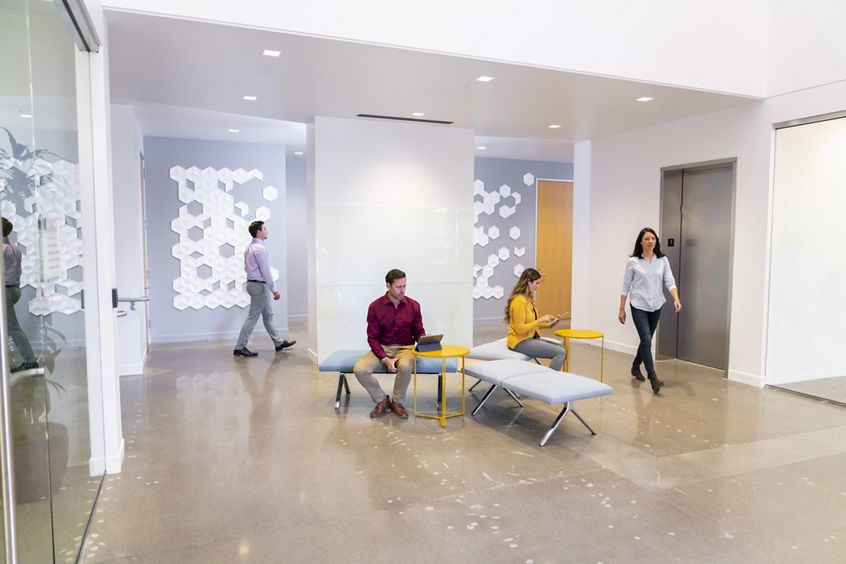 Lifestyle photography of the building lobby at McCarthy Center - 690 N McCarthy Boulevard in Milpitas, CA