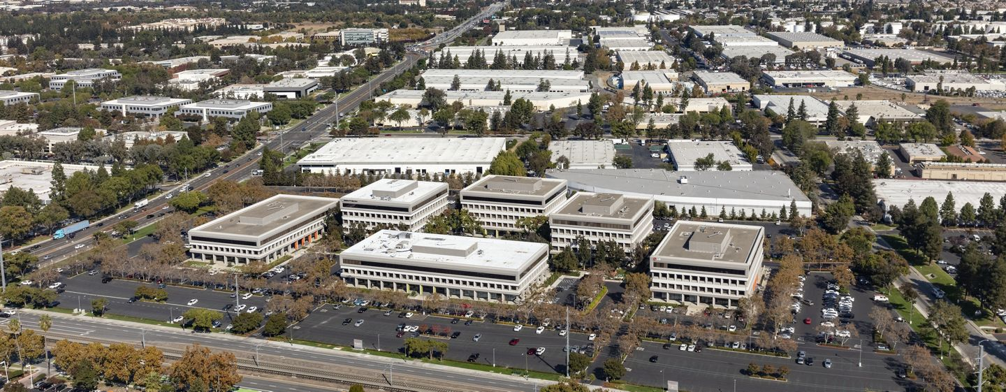 Aerial photography of Silicon Valley Center in San Jose, CA