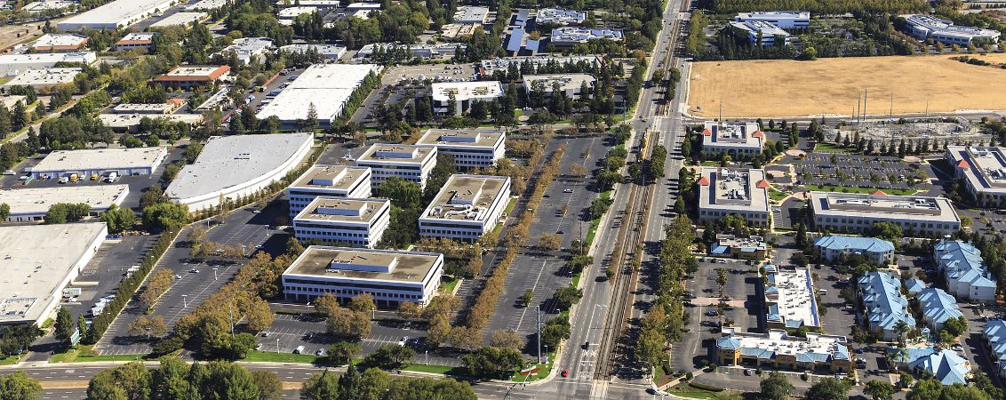 Aerial view of Silicon Valley Center.