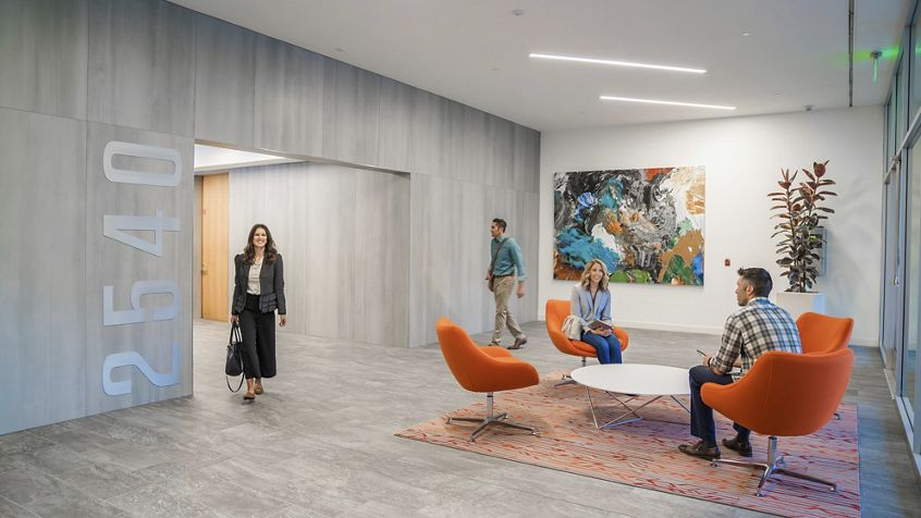 Lifestyle lobby photography at Silicon Valley Center - 2540 N First Street in San Jose, CA