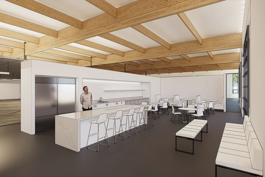 Rendering of interior break room at 305 N Mathilda Office Properties in Sunnyvale, CA.