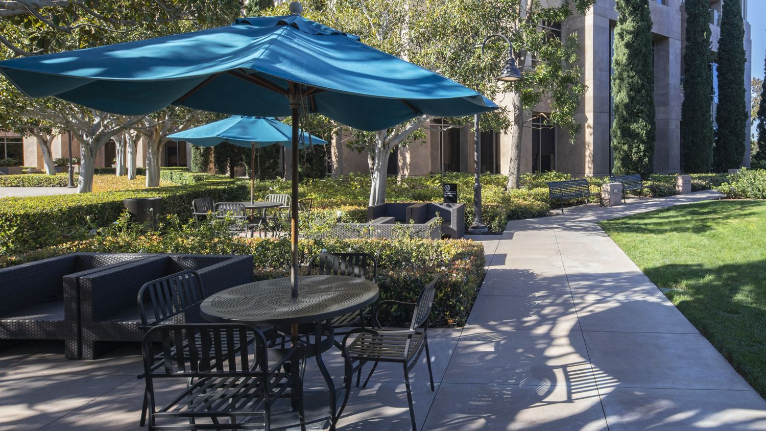 Before reinvestment photography of the outdoor workspace at 888 San Clemente in Newport Beach, CA